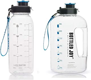 BOTTLED JOY 32oz Water Bottle and Half Gallon Water Bottle with Time Marked Suite Products, Tritan BPA Free Water Bottle f...