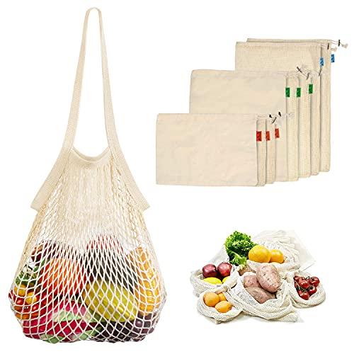 Viedouce 9 Paquete Reutilizable Producir Bolsas,Bolsa de Producción Reutilizable Algodón Orgánico para Fruta Vegetal,Bolsas de Malla Reutilizables,Lavable Bolsa de Compras