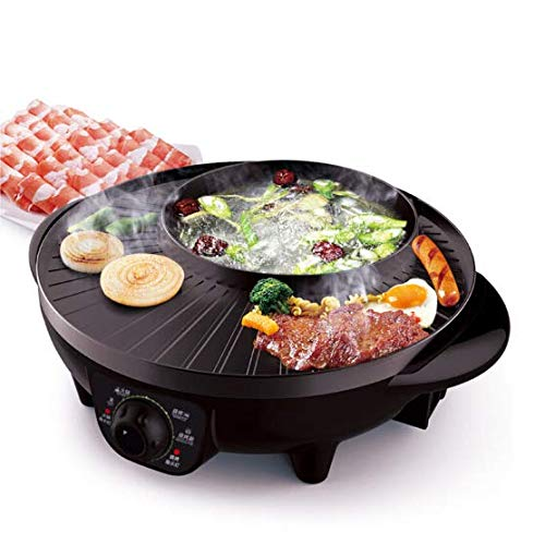 LIVEN Electric ShabuShabu Hot Pot with Grill- with BBQ Multifunctional Electric Skillet SK-J3201A,1300W,Nonstick Coating,Perfect for 1 to 4 Person