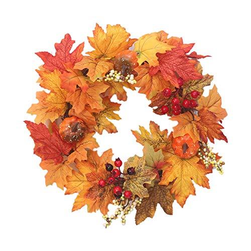 LONGYING Guirnalda de simulación de Halloween, corona de cosecha de calabaza artificial de otoño y corona de cosecha de piñón, otoño para puerta delantera, mesa decoración de pared