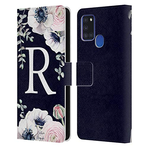Head Case Designs Officially Licensed Nature Magick Letter R Watercolour Flower Monogram 2 Leather Book Wallet Case Cover Compatible with Samsung Galaxy A21s (2020) Massachusetts