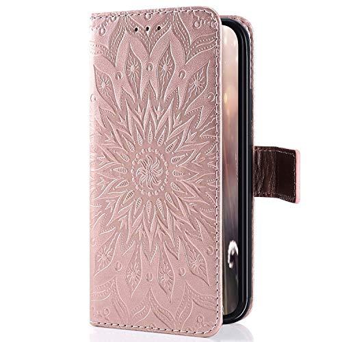 Kompatibel mit Handyhülle Galaxy Core Prime Leder Tasche Schutzhülle Handy Tasche Schöne Mandala Blumen Muster Ledertasche Leder Hülle Bookstyle Klapphülle Flip Case Cover,Rose Gold