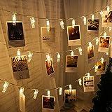 Cadena de luz LED clip de fotos guirnalda de cuento de hadas dormitorio decoración navideña fiesta cadena de luz batería 10m100 leds