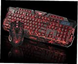 Tricolor retroiluminada con cable Gaming Keyboard Set 2.4G colorido Iluminado juego Kit