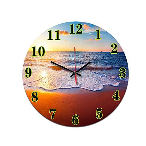 LUOYLYM Sonnenuntergang Wohnzimmer Digitale Wanduhr Wanduhr Acryl Stumm Startseite Kreative Dreidimensionale Handwerk Uhr Rahmenlose Wecker P190430-53 28cm