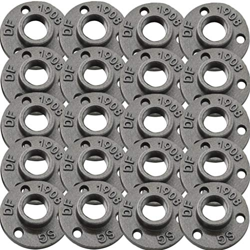 Brooklyn Pipe Flange - 20 Pack 3/4 Inch Floor Flange Cast Iron Pipe Fittings 3/4 Inch Pipe Flange Industrial Pipe Flanges Decorative Pipe Fitting Fit for Steampunk Furniture