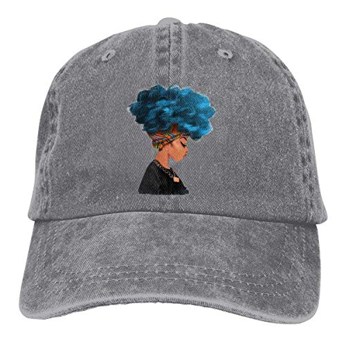 XCNGG Blaue Haarfarbe Afrikanische Frau Unisex Cowboyhüte Sport Denim Hut Mode Baseball Cap Schwarz