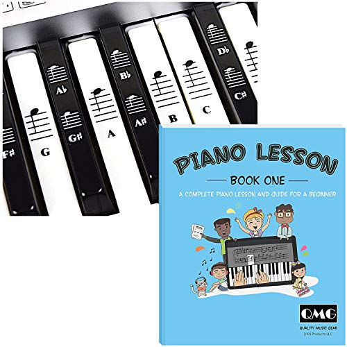 Piano and Keyboard Stickers and Complete Piano Music Lesson and Guide Book for Kids and Beginners; Designed and Printed in USA