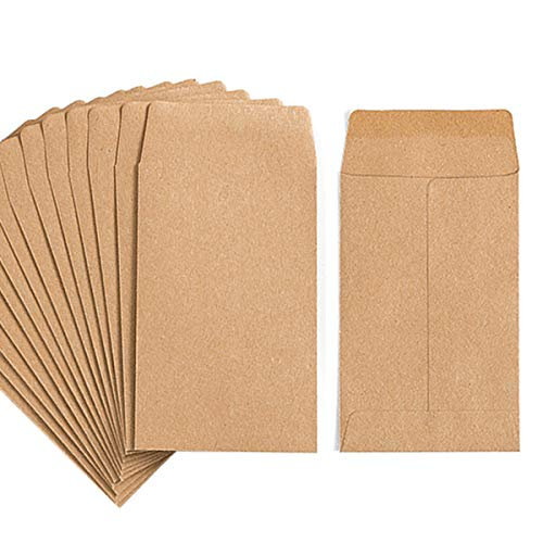 """100 Pack Kraft Small Coin Envelopes Self-Adhesive Kraft Seed Envelopes Mini Parts Small Items Stamps Storage Packets Envelopes for Garden, Office or Wedding Gift(2.25""""×3.5"""")"""