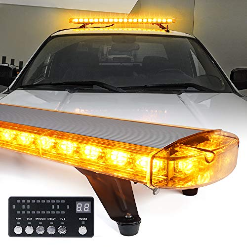 Xprite 48 Inch LED Amber Rooftop Emergency Warning Lights Bar 16 Strobe Patterns w/ Adjustable Mounting Brackets for Vehicles, Security, Law Enforcement, Snowplow, Tow Trucks, Crane, Construction Cars