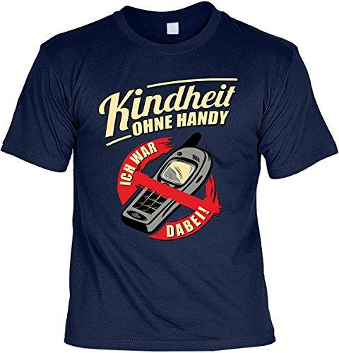 Lustige Sprüche Fun Tshirts - Kindheit ohne Handy Ich war dabei - incl. Mini-Shirt ohne Flasche