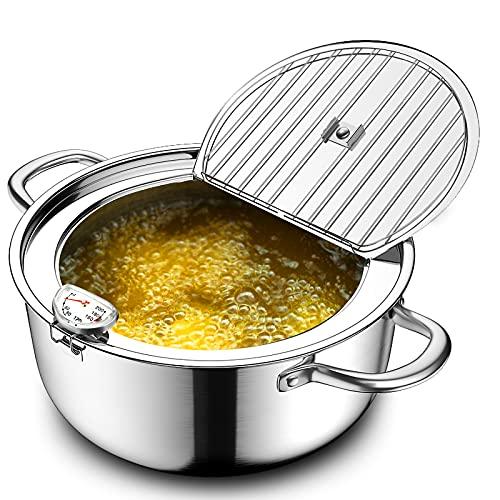 Chihee Friggitrice con termometro Acciaio inossidabile 304 Non patinata Pentola per friggere con coperchio Cremagliera del filtro dell'olio becco Perfetto per friggere in famiglia,bocconcini di pollo