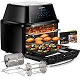 Air Fryer Oven 17-Quart, OMMO 1800W Countertop Air Fryer Toaster Oven Combo with Rotisserie & Dehydrator, Digital Controls, 8 Presets, Rich Accessories & Cookbook (40+ Recipes), ETL Certified