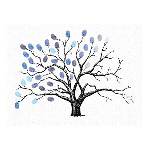VORCOOL Fingerabdruck Baum Gästebuch für Hochzeit Geburtstag (Blau)