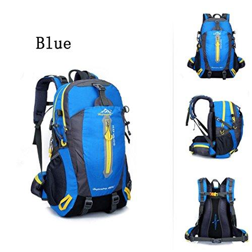 36-55L Sac à dos escalade Oxford Waterproof Lightweight Sac à dos Camion d'équitation Pack Paquet d'épaules pour hommes et femmes W30 x H52 x T20 CM , Blue