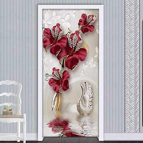 QHOXAI 3D Mural De Arte Etiqueta De Puerta Carteles Flores Rojas Europeas Arte Mural PVC Autoadhesivo Cocina Sala De Baño Murales Impermeables Dormitorio Decoración del Hogar 77X200Cm
