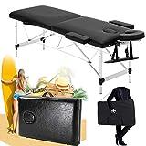 Cómoda mesa de masaje de belleza, fácil configuración, plegable y portátil con agujero para la cara, color negro, 2 plegables, 60 cm a 80 cm, altura ajustable, reposacabezas sin bolsa de transporte