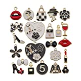 Tangser 23 pcs Charm Pendants, Girl Hot Fashion Assorted Gold Plated Enamel Pendants, Mixed Women Make Up Lipstick Dress Shoes Purse Hat Charms for Jewelry Making