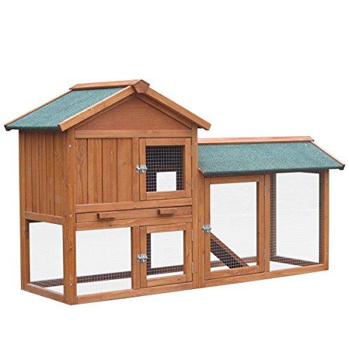 Hasenstall Kaninchenstall Kaninchen-Käfig Hasen-Käfig Kleintier-Stall Freilauf Kleintierkäfig - 6