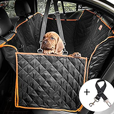 Lantoo Dog Seat Cover, Large Back Seat Pet Seat Cover Hammock for Cars, Trucks, SUVs with Nonslip Backing, Side Flaps, Waterproof, Soft