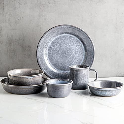WDSWBEH Juego de vajilla de 16 piezas, moderno juego de platos y cuencos para 4, gris y azul mezclado