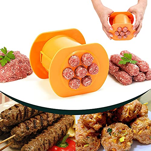 Guppy One Press Cevapcici Sausage Maker Stuffer, 7 Sausages at Once Press Handmade Hot Dog Meat Strip Machine Molds Non Stick Kitchen Meatball Maker Barbecue Grilling Tools BBQ Accessories