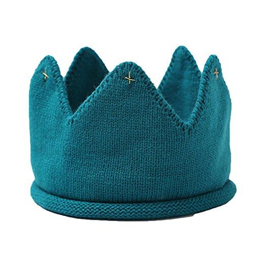 YeahiBaby Sombrero de corona de punto de bebé Muchachas de los niños Corona caliente Invierno Suave de punto Gorra de ganchillo Diadema de corona (Azul)
