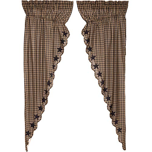 VHC Brands Primitive Curtains Rod Pocket Cotton Drawstring Ties Appliqued Star Prairie Panel Pair, Raven Black
