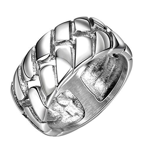 PAURO Herren Edelstahl Poliert Silber Reifen Lauffläche 10Mm Band Ring Größe 57