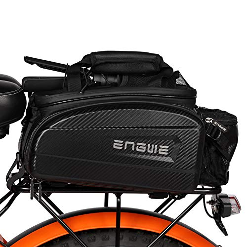 ENGWE Bike Bag Trunk Bag Waterproof Carbon Leather Bicycle Rear Seat Cargo Bag Rear Pack Trunk Pannier Handbag