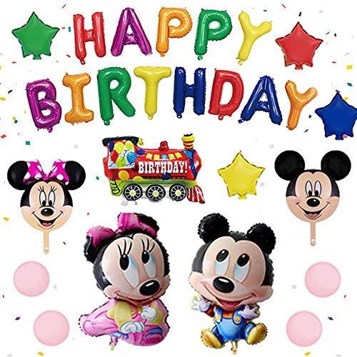 Globo de Mickey, NALCY Decoraciones de Cumpleaños de Mickey Mouse, Globos Tipo Minnie y Minnie Mouse, Artículos de Fiesta de Mickey y Minnie, para la Fiesta Temática de Mickey Mouse (26 Pcs)