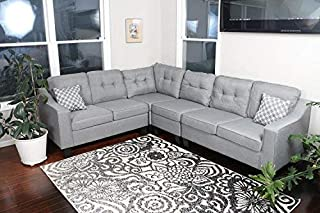 Oliver Smith - Large Light Grey Linen Cloth Modern Contemporary Upholstered Quality Sectional Left or Right Adjustable Sectional 106