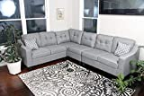 Oliver Smith - Large Light Grey Linen Cloth Modern Contemporary Upholstered Quality Sectional Left or Right Adjustable Sectional 106' x 82.5' x 34'
