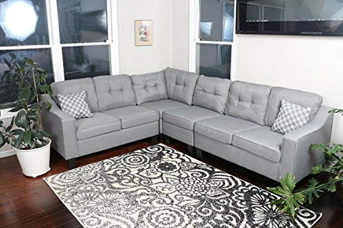 Smith & Oliver Adjustable Corner Cloth Modern Sofa