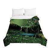 Chickwin Bettüberwurf Tagesdecke, 3D Wald Drucken Tagesdecken Herbst Sommer Bettüberwürfe Prägemuster Wohndecke Mikrofaser Bettdecke für Einzelbett Doppelbett (Grüner Dschungel,200x230cm)