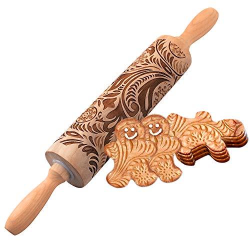 KOTONAMI Weihnachten Geprägt Teigroller, Motiv Nudelholz für Plätzchen, 3D Holz Schneeflocke PräGerolle Nudelholz Weihnachten Teigroller FüR Fondant Pizza Deko Plätzchen Nudelteig MüRbeteig