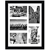 Americanflat 11x14 Collage Picture Frame in Black with Five 4x6...