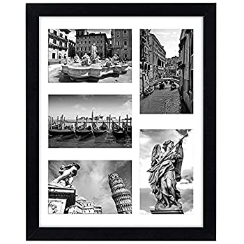 Americanflat 11x14 Collage Picture Frame in Black with Five 4x6 Picture Displays - Shatter Resistant Glass Horizontal and Vertical Formats for Wall
