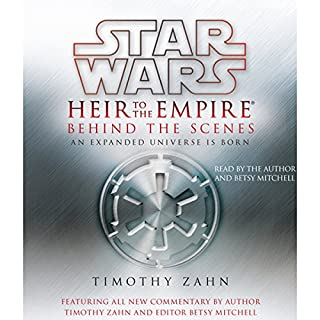Free Excerpt: Star Wars: Heir to the Empire - Behind the Scenes                   By:                                                                                                                                 Timothy Zahn,                                                                                        Betsy Mitchell (editor)                               Narrated by:                                                                                                                                 Timothy Zahn,                                                                                        Betsy Mitchell                      Length: 21 mins     1,048 ratings     Overall 4.0