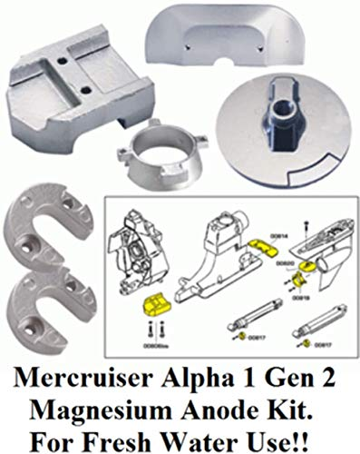 Hmn_Str Magnesium Alpha 1 Generation 2 Anode Kit Military Grade 18-6158M 20801MG Included Gimbal Plate Lift-Ram Bearing Carrier For Fresh Water Use