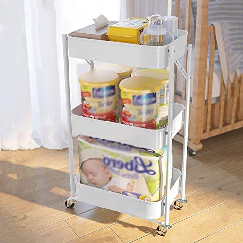 Carros de almacenamiento Carrito de almacenamiento de 3 niveles, Rack de almacenamiento de cocina Torre de diapositiva delgado Movible Moble Metal White Wheels Wheels Organizador de ahorro de espacio