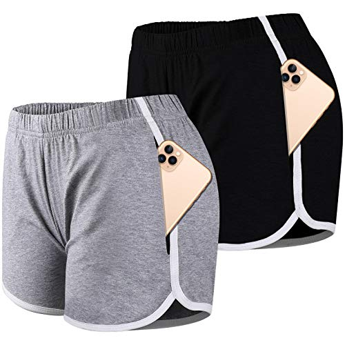 Bodybay 2 Pack Women Yoga Short Pants with Pockets Elastic Waist Cotton Shorts Athletic Running Fitness Workout Shorts (Black + Medium Grey, L)