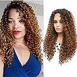 Peluca rubia larga pelucas lace front pelucas pelo natural rizado realistas sinteticas para mujer marrón a rubia 20 inch