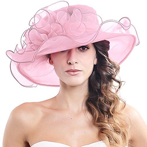 Womens Black Kentucky Derby Church Hat Dress Fascinator Bridal Organza Tea Party Wedding Hat Pink