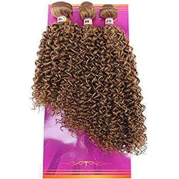 Jerry Curly Synthetic Hair Weave Extensions 16 18 20 Inches 3 Bundles Godlen Color High Temperature Heat Resistant Fiber 27#