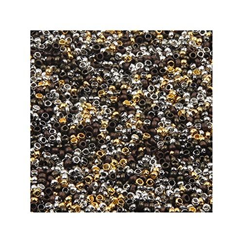 JIACHEN 500 cuentas espaciadoras de bolas de oro rodiado con extremo de engarzado, para hacer joyas, accesorios (color: mezclado, tamaño: 2 mm)