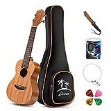 Donner Concert Ukulele Mahogany DUC-1 23 Inch Ukulele Starter Kit With Strap Nylon String Tuner