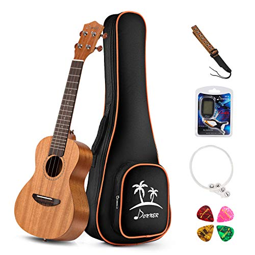 Donner Concert Ukulele Mahogany 23 inch with Ukulele Set Bag Strap Picks Nylon String Tuner (DUC-1)