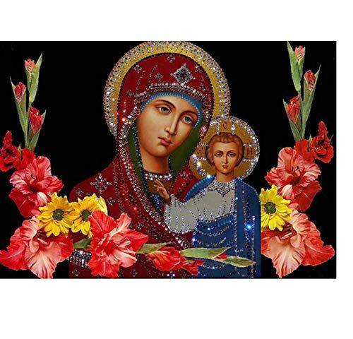 Diy Diamante Pintura Religiosa Virgen Y Niño Diamante Mosaico Diamantes De Imitación 5D Tela Diamante Punto De Cruz Kit De Costura Bordado(30x40cm)