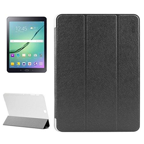 Custodia cover horizontal flip trifold silk texture eco pelle NERO con stand per Samsung Galaxy Tab S2 9.7 T815 + pellicola protettiva + pennino capacitivo + pannetto pulisci schermo digital bay